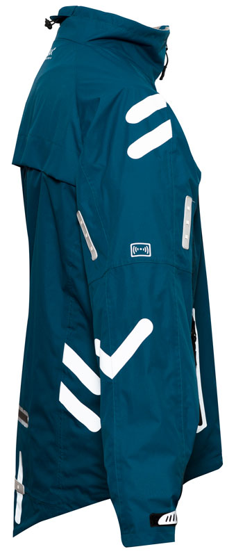 CKL Distribution - City Ace Cycling Jacket with LED Indicators - Teal Blue - Side View