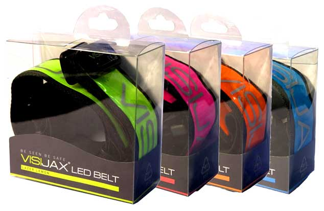 Visijax LED Sports Belt - all colours in packaging