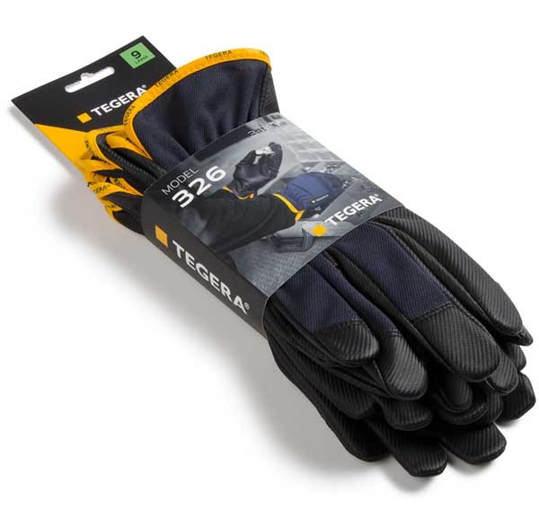 3-pack-TEGERA®326 by Ejendals: Synthetic leather glove, Reinforced Fingertips, Cat. II, Grip Glove