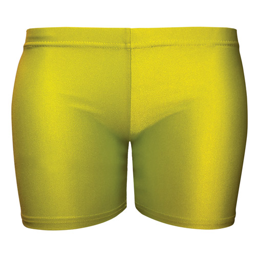 Girls' & Ladies' Hi-Stretch Shiny Hot Pants - DSTG02S-yellow
