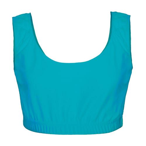 Girls' & Ladies' Hi-Stretch Shiny Crop Top-Light-Turquoise