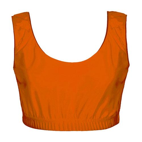 Dancewear Girls' & Ladies' Hi-Stretch Shiny Crop Top-yellow DTOG01S-DTOL01S-orange