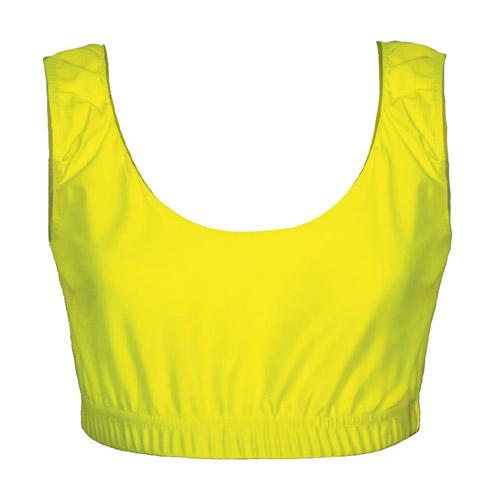 Girls' & Ladies' Hi-Stretch Shiny Crop Top-yellow