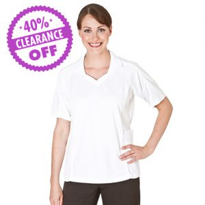 100% Polyester Ladies Bowling Top Open V-Neck with Collar Short Sleeve - PBLL06C - CLERANCE