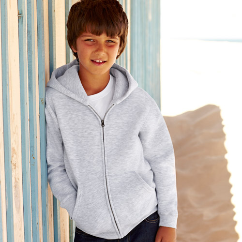 Kidswear, schoolwear, hooded, sweatshirt, full-zip, Double fabric, Kids' Hooded Full-Zip Set-In Sweatshirt - from CKL- SSHZK • Double fabric hood without drawcord in line with EC childrenswear legislation • Set-in sleeves • Jersey back neck tape • Narrow covered zip for enhanced printability • Two deep front pouch pockets - Grey