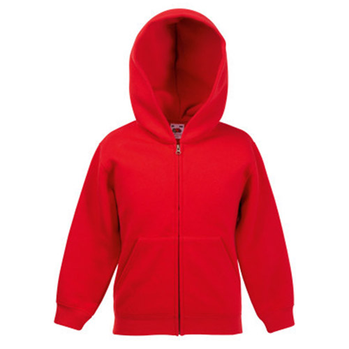 Kidswear, schoolwear, hooded, sweatshirt, full-zip, Double fabric, Kids' Hooded Full-Zip Set-In Sweatshirt - from CKL- SSHZK • Double fabric hood without drawcord in line with EC childrenswear legislation • Set-in sleeves • Jersey back neck tape • Narrow covered zip for enhanced printability • Two deep front pouch pockets-red