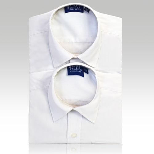 CSHB11-CKL Schoolwear TWINPACK Boys School Shirt L/S-white