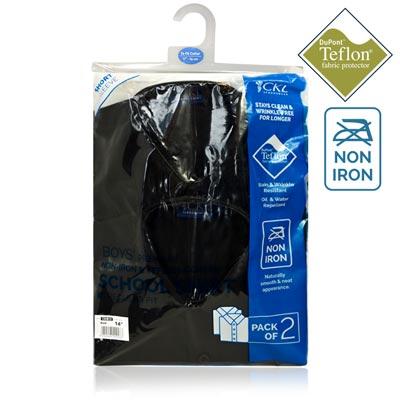 CSHB12-CKL Schoolwear TWINPACK Boys School Shirt S/S-black-pck