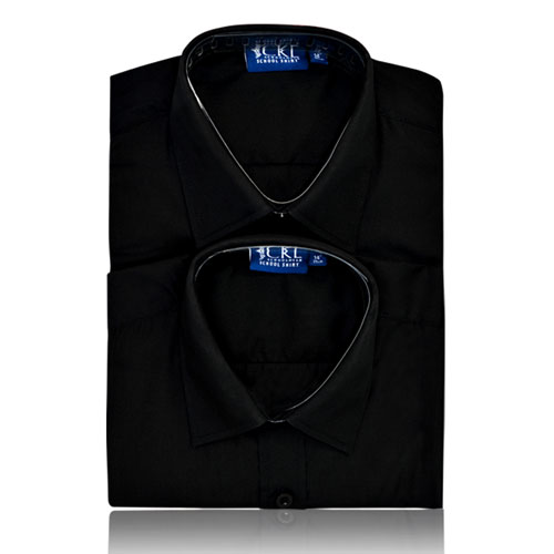 CSHB12-CKL Schoolwear TWINPACK Boys School Shirt S/S-black