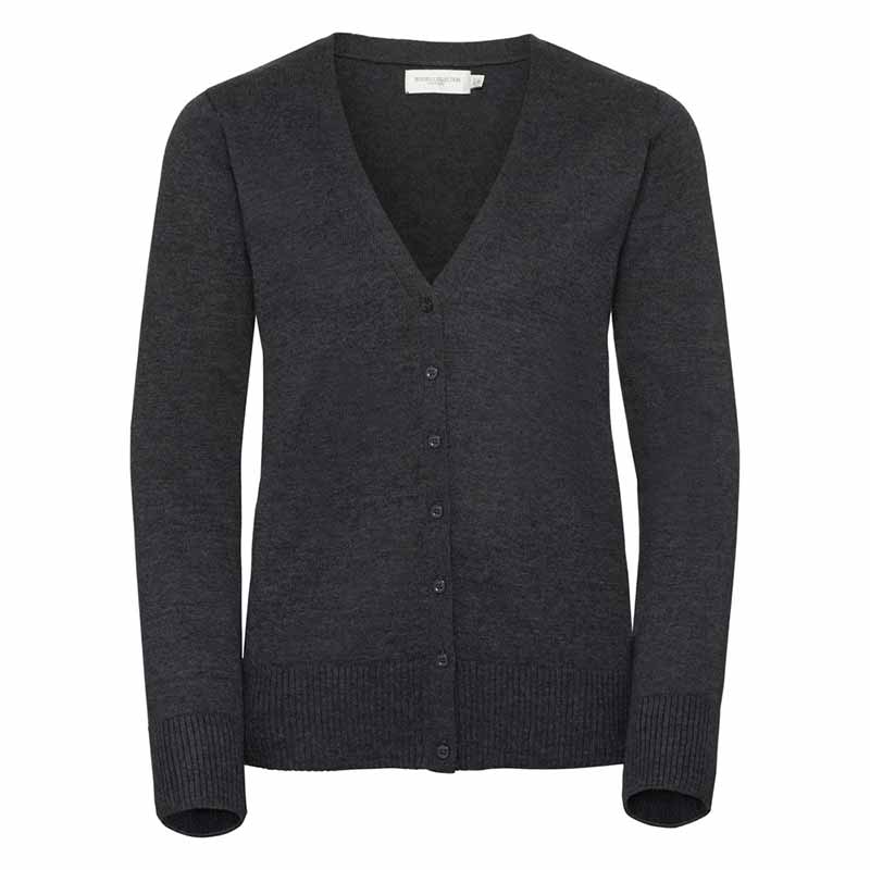 275gsm 50/50 C/AC Ladies V-Neck Knitted Cardigan - JCAL715-charcoal