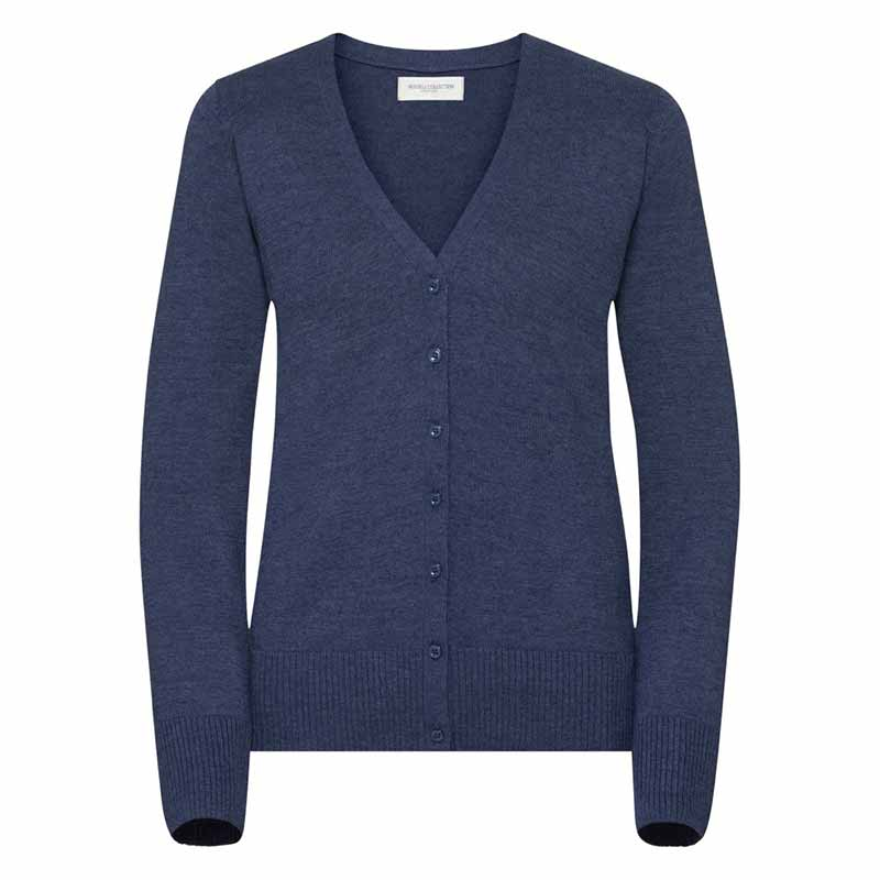 275gsm 50/50 C/AC Ladies V-Neck Knitted Cardigan - JCAL715-denim-marl