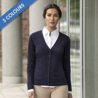 275gsm 50/50 C/AC Ladies V-Neck Knitted Cardigan - JCAL715