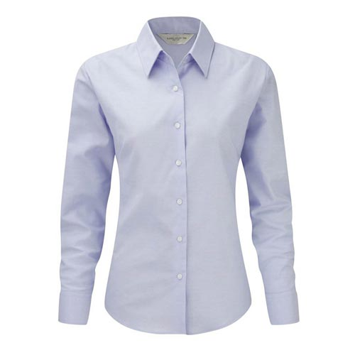 135g 70/30CP Ladies Easy-Care Oxford Blouse Long Sleeve - JSHL932-oxford-blue