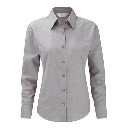 135g 70/30CP Ladies Easy-Care Oxford Blouse Long Sleeve - JSHL932-silver