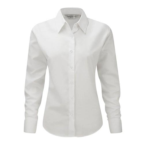 135g 70/30CP Ladies Easy-Care Oxford Blouse Long Sleeve - JSHL932-white