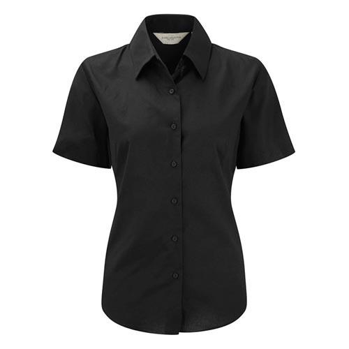 130g 70/30 CP Ladies Easy-Care Oxford Blouse Short Sleeve JSHL933-black