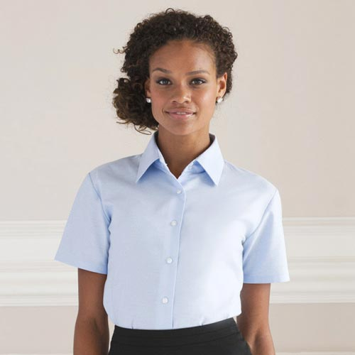Ladies Easy-Care Oxford Blouse Short Sleeve - JSHL933-main