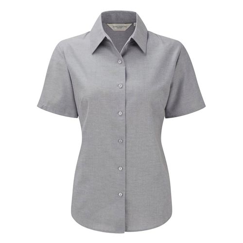 Ladies Easy-Care Oxford Blouse Short Sleeve - JSHL933-silver