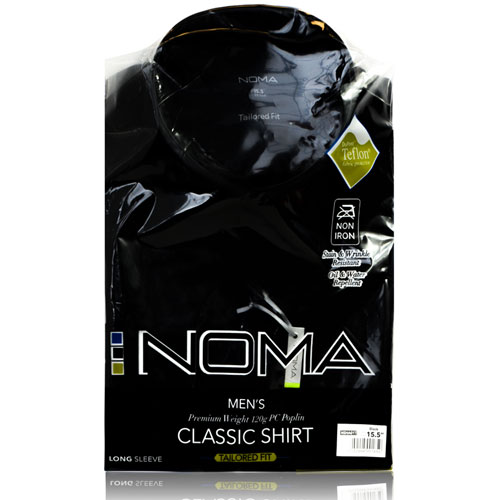 NSHA01T-Noma Men's Tailored Classic Shirt L/S-black-pck