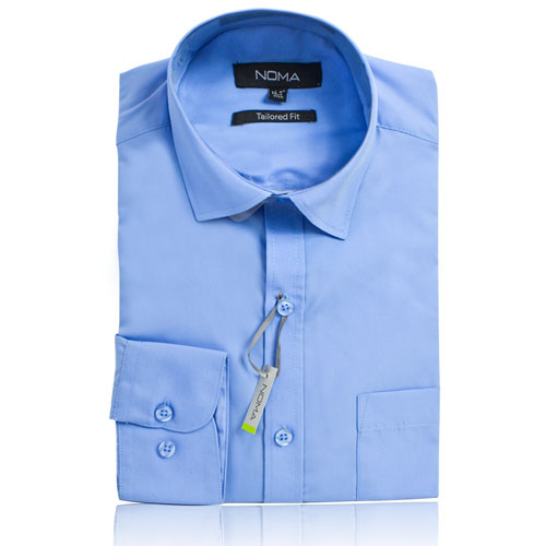NSHA01T-Noma Men's Tailored Classic Shirt L/S-blue