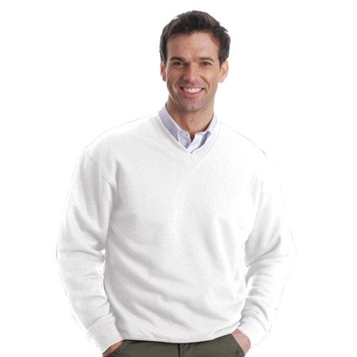 315g 70/30CP V-neck Set-In Sweatshirt-TSA02-WHITE