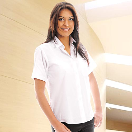 110gsm Ladies Classic Poplin Shirt Short Sleeve - WBLL10-white