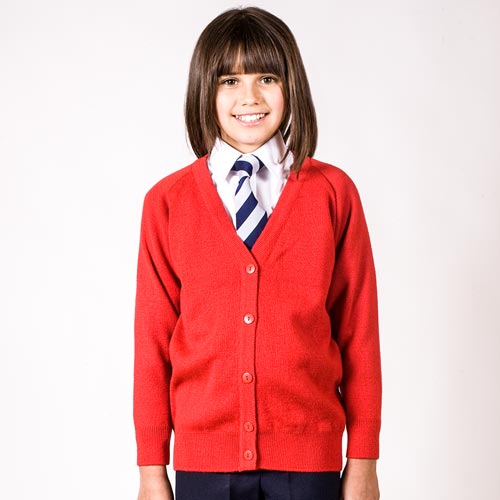 Girls' Premium Wool-Mix Knitted Cardigan - CCAK01-red