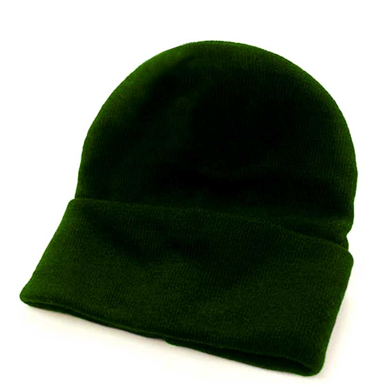 Fine Gauge Knitted Woolly Beanie Hat - GHAA02-bottle-green
