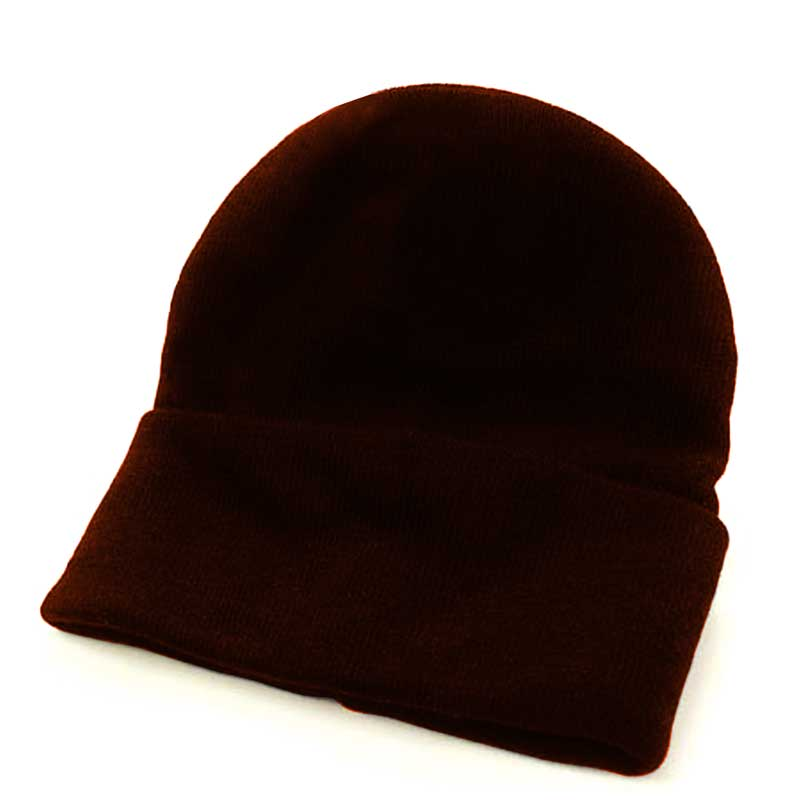 Fine Gauge Knitted Woolly Beanie Hat - GHAA02-brown