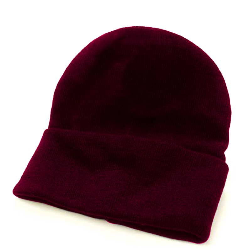 Fine Gauge Knitted Woolly Beanie Hat - GHAA02-burgundy