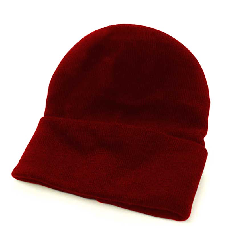 Fine Gauge Knitted Woolly Beanie Hat - GHAA02-red