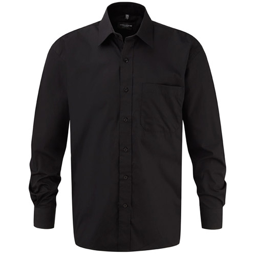 125g Pure Cotton Easy Care Poplin Shirt Long Sleeve - JSHA936-black