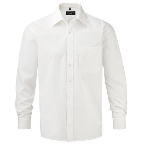 125g Pure Cotton Easy Care Poplin Shirt Long Sleeve - JSHA936-white