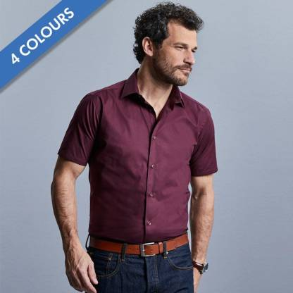 Easy-Care Cotton-Stretch Fitted Short Sleeve Shirt-JSHA947