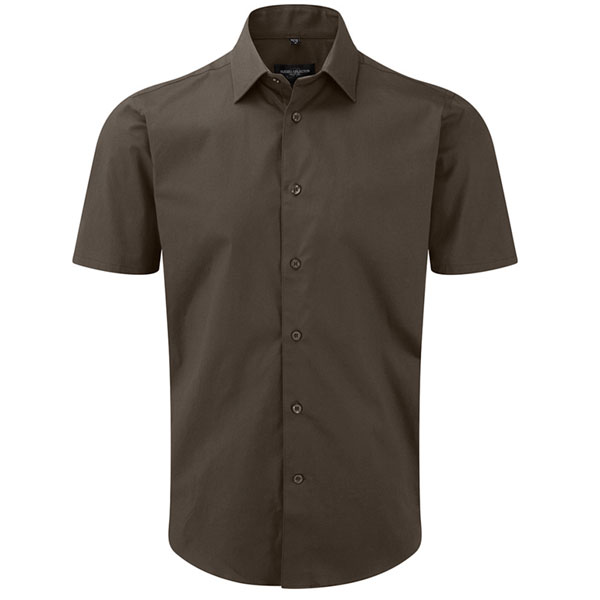140g Easy-Care Cotton-Stretch Fitted Short Sleeve Shirt-JSHA947-Chocolate