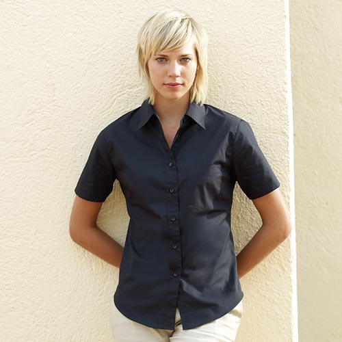 120g 55/45 CP Ladies' Poplin Shirt Short Sleeve - SSHSPL-black