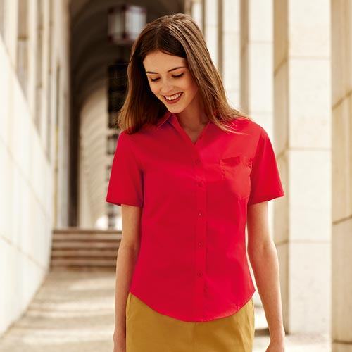 120g 55/45 CP Ladies' Poplin Shirt Short Sleeve - SSHSPL-red