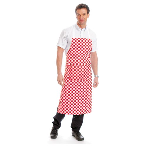 Bib Apron (with pocket) - WAPA02-red