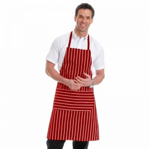 210gsm Value Striped Bib Aprons with pocket - WAPA07