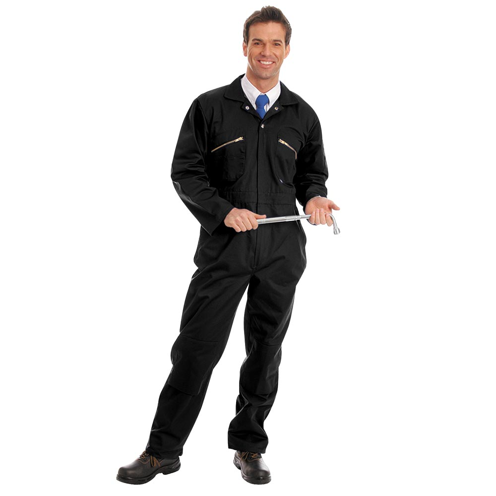 280gsm Heavyweight Zip Front Coverall with Knee-Pad Pockets - WBSA01-black