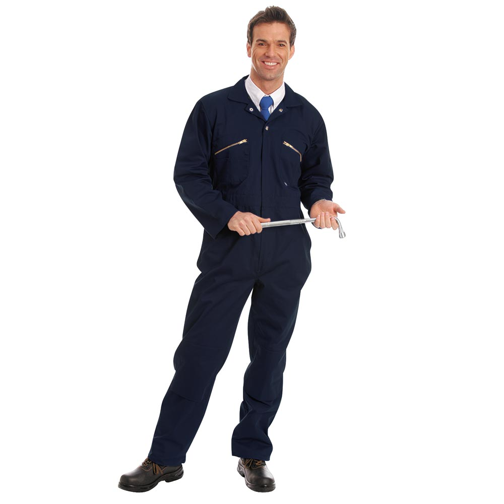 280gsm Heavyweight Zip Front Coverall with Knee-Pad Pockets - WBSA01-navy
