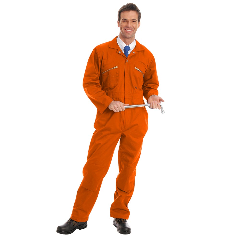 280gsm Heavyweight Zip Front Coverall with Knee-Pad Pockets - WBSA01-orange