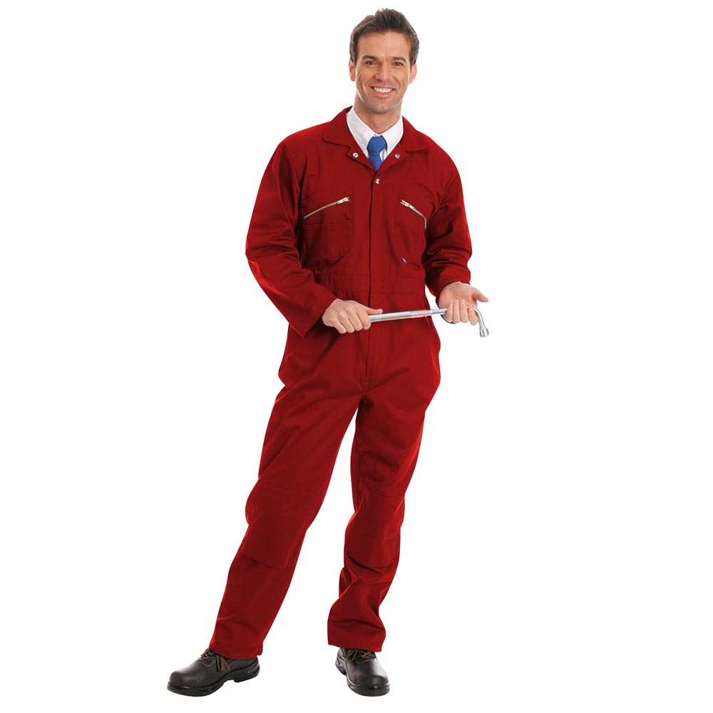 280gsm Heavyweight Zip Front Coverall with Knee-Pad Pockets - WBSA01-red