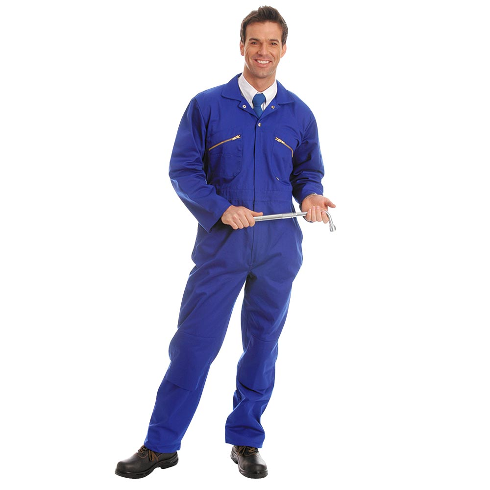 280gsm Heavyweight Zip Front Coverall with Knee-Pad Pockets - WBSA01-royal