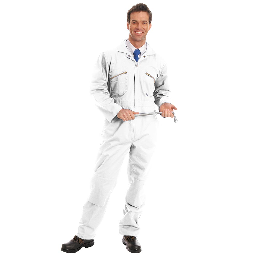 280gsm Heavyweight Zip Front Coverall with Knee-Pad Pockets - WBSA01-white