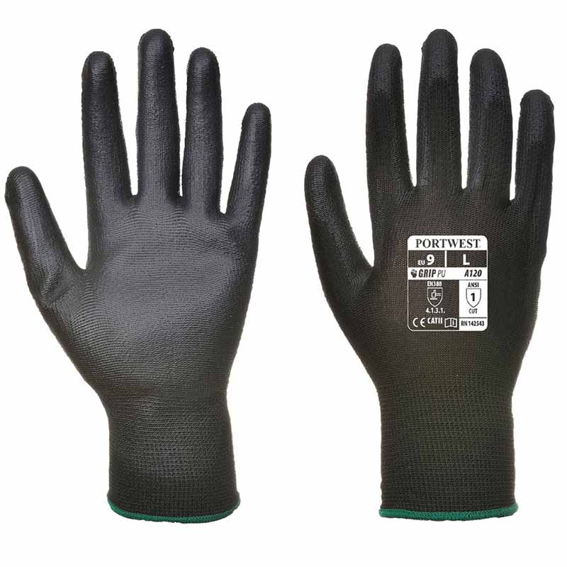 High Dexterity PU Palm Glove - WGLA120-black