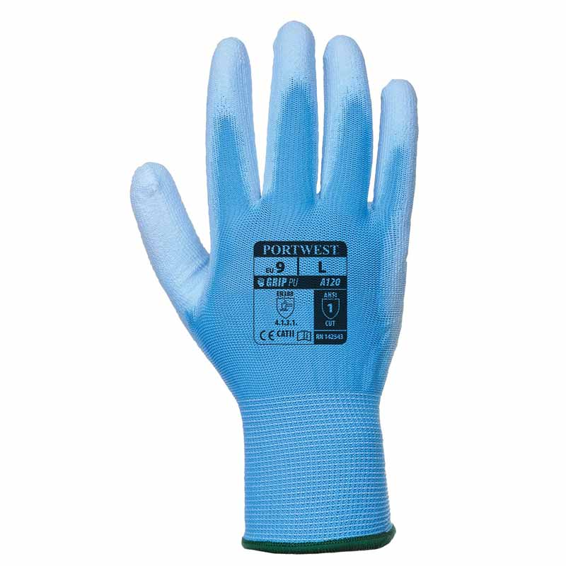 High Dexterity PU Palm Glove - WGLA120-blue