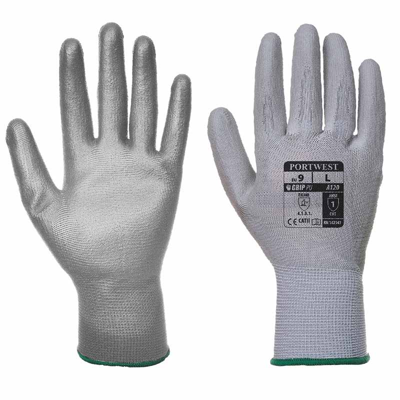 High Dexterity PU Palm Glove - WGLA120-grey