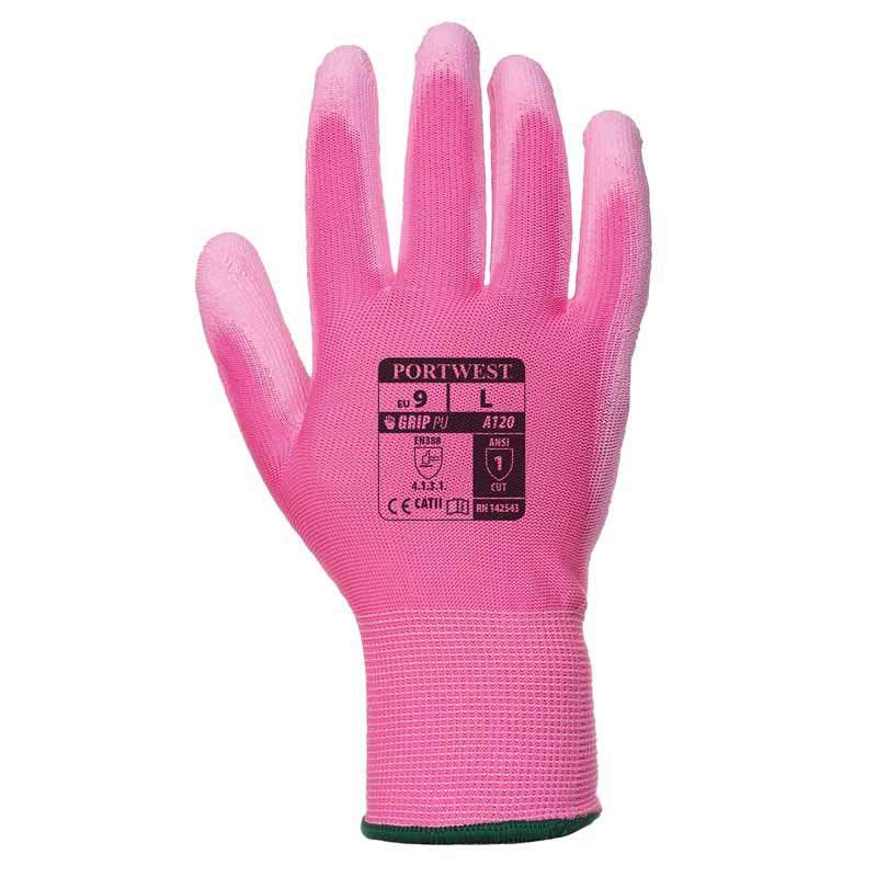 High Dexterity PU Palm Glove - WGLA120-pink