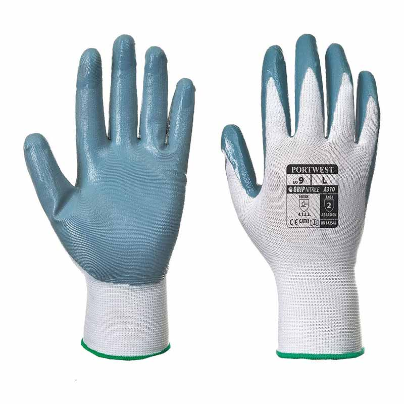 Smooth Nitrile Flexo Grip Nitrile Glove - WGLA310-grey
